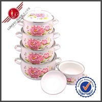Pink Flower Decal Nonstick Enamel Chinese Kitchen Cookware