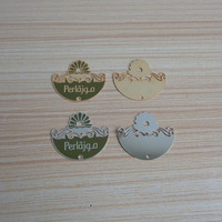 custom metalic charming design clothing hanging tags, personalized gold and silver metal patch logo garment /handbag/ purse
