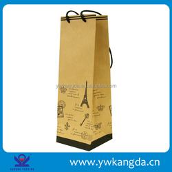 Yiwu factory quality promised wholesale brown kraft single paper wine bag