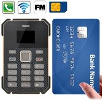 S1 Black Retro Ultra Thin Mini Card Mobile Phone, Low Radiation Bluetooth GSM Phone
