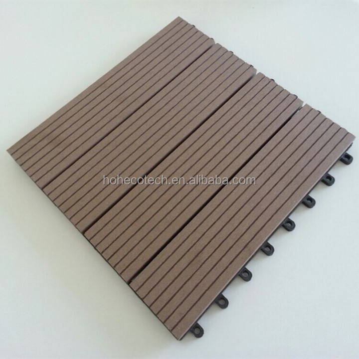 Non Slip Wood Composite Interlocking Outdoor Deck Tiles