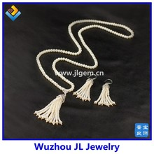 Natural freshwat pearl tassel pearl jewelry pearl wedding jewelry set for mother's day