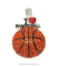 2015 fashion colorful rhinestone brooch Wholesale Fashion Jewelry Crsytal i love basketball pendant brooch