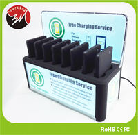 Public 4000mAh Bar Cafe Multiple Cell Phone Charger Station with 8pcs 5V 2A Power Bank Charger
