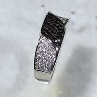 NYR6451 Super!!! RS 62pcs White CZ & 35pcs Black Spinel Braided Band Ring Size6#/7#/8#/9#Available