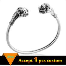 Latest prodcuts in market men silver lion head open bangle bracelet