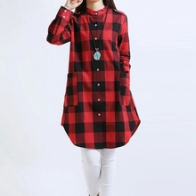 2011 Spring Summer Casual Plaids Shirt Blouse Office Wear For Mature Women Pictures