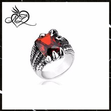 Red Gemstone Vintage Stainless Steel Dragon Claw Men's Ruby Ring,Stainless Steel and Gem Stone Ring,Fashion Jewelry Ruby Ring