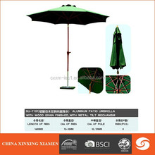 ALUMINUM PATIO UMBRELLA WITH WOODEN GRAIN FINISHED WITH METAL TILE mechanism