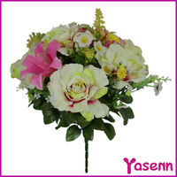 2014 newly design YSF0501 wholesale 18 branches artificial fabric rose flower bouquet wedding decoration flower