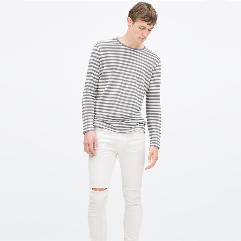 95 cotton 5 spandex made men 39 s stripe long sleeve 95 for 95 cotton 5 elastane t shirt