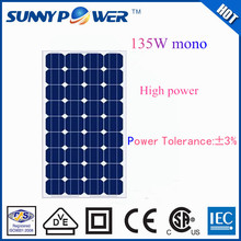 OEM solar energy 135W pv mono solar panel factory direct sale price in dongguan
