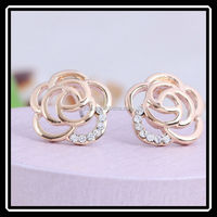 2015 Hot Selling Cute Fashion Gold Rose Flower Stud Earrings With Stick Needle JHJ0133