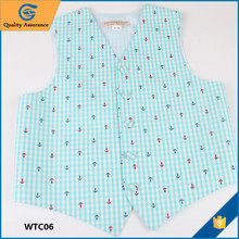 Custom Causual Design Blue Anchors Patterns Cotton Baby Boys Vest