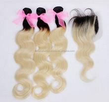 3 bundles hair extension 1bT613# two tone color lace top colosure 4*4 body wave human hair blonde ombre lace closure 4pcs
