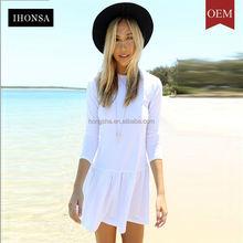 Online Shopping White Long Sleeve Dresses For Girls Midi Peplum Dress HSD7631