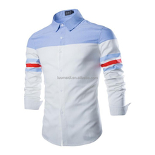 Blue and white stitching/colorant match shirts long sleeve/ long sleeve shirt