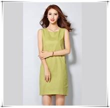 linen dress 2015 Sleeveless slim sundress summer dress female Pocket design style plus size women clothing casual dresses