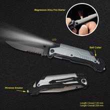 Titanium Coating Survival Knife with LED Flashlight and Flint