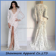 Style Number FL15189 newest ivory and black instocksee through long lace evening dress