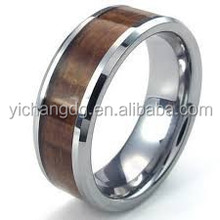 New Arrive Wood Inlay Ring Men Ring Tungsten Wood Ring for Online Wholesale