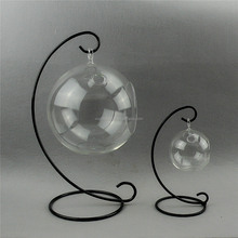 Borosilicate glass hydroponic plants hanging ball with steel support