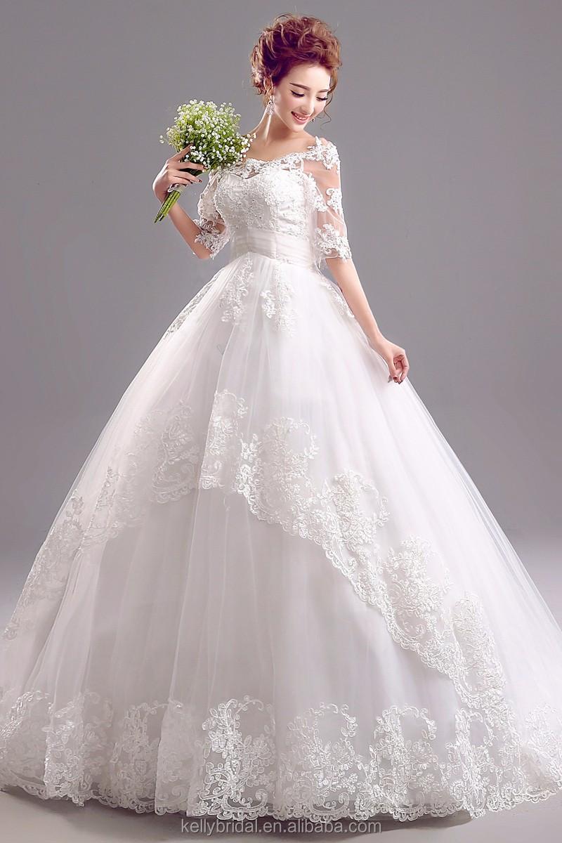Zm 16101 Off-shoulder 3/4 Long Sleeve Big Ball Gown Wedding Dresses ...