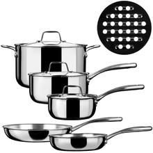 9-Piece Dishwasher Safe PFOA Free TRI-PLY Stainless Steel Cookware Set (20cm stockpot,16cm 18cm saucepan, 20cm 24cm fry pan)