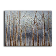 Handmade canvas silver leaf trees oil painting