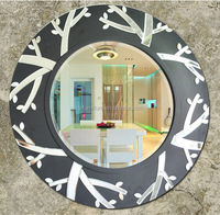 MR-2Q0174 wooden frame leaves style wall mirror decorative