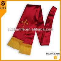 polyester Red Luminous Crucifix Embroidered Scarves For Girls