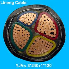 Lineng YJV22 3*240+1*120 Low Voltage 4 Core Copper Electrical Power Cable