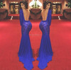 Mermaid Long Sleeve Royal Blue Backless Lace Prom Dress 2015 Vestidos De Fiesta Celebrity Boutique Dress