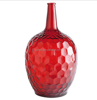 Handblown Honeycomb red solid color leadfree customized size special long neck glass vase unique design