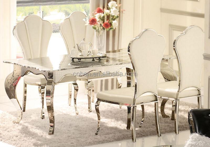 ah103 luxe salle manger table avec dessus en marbre - Salle A Manger En Marbre