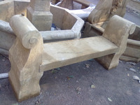 hot sale natural marble made hand carved garden bench chair