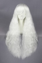 New arrival cheap price high quality 6a long wave white synthetic party cosplay wig