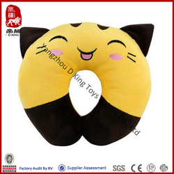 Promotion gift stuffed toy yellow cat soft baby neck pillow plush neck pillow cat