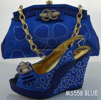 Big size 2015 new design italian shoe and bag set MS558 BLUE