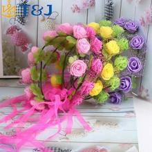 >>>2016 Kids Wreath Party Wedding Floral Ribbon Hair Accessories New Women Bohemian Rose Flower Headband/