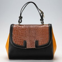 2012 fashion! Women's leather vintage handbag in color block