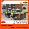 Top wood Frame 4 person workstation office table