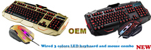 Three Color Adjustable Luminous with Purple Red Blue Gaming Wired Keyboard and Mouse Combo Set Golden + Bluefinger Customed Gami