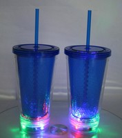 Uneven surface straw tumbler with LED light/ led light up tumbler with straw