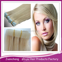 wholesale double drawn 100% remy human hair extension skin weft