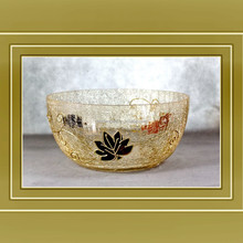 hand made big bowl water floated crackle glass candle holder with autumn leaves
