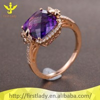 14K Solid Rose Gold Genuine Diamond 10*12mm Cushion Natural Amethyst Ring Jewelry