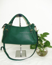 2015 Latest ladies handbag green pu leather bag handles and detachable shoulder strap hot selling tote bag