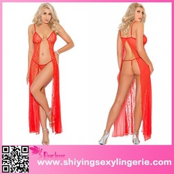 Hot sale Red Lace Valentine Sexy Satin Dress Long Gown