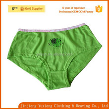 fashion design 100%cotton high cut rubber printing green panties for fat women/wholesale plus size underwear for women